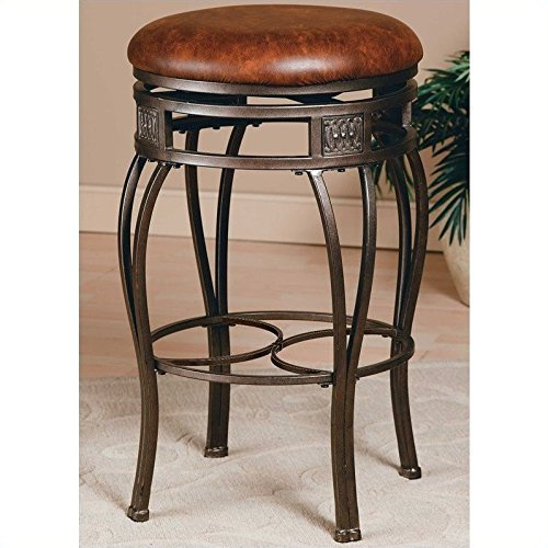 Hillsdale Furniture Montello 26-Inch Backless Swivel Counter Stool, Old Steel Finish with Brown Faux-Leather