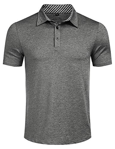 Mens Casual Dry Fit Short Sleeve Polo Golf Shirt Loose Striped Collared Polo T Shirt Grey ()
