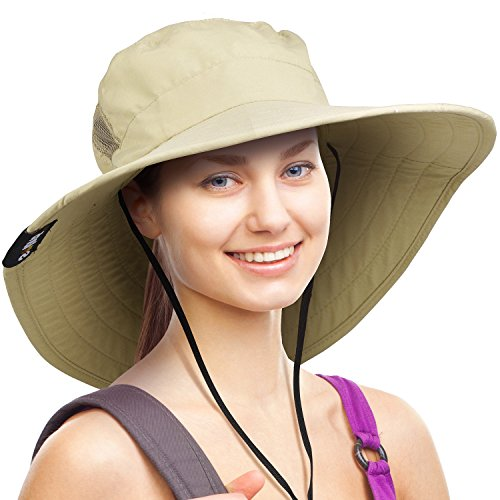Sun Protection Cowboy (Wide Brim Sun Hat Outdoor UV Protection Safari Cap for Women Tan)
