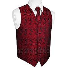 Italian Design, Men's Tuxedo Vest, Tie & Hankie Set in Apple Paisley