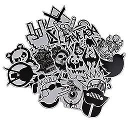 Evinis - 60 Pcs New Style Black and white Random Music Film Vinyl Skateboard Guitar Travel Case Sticker Lot Pack Decals
