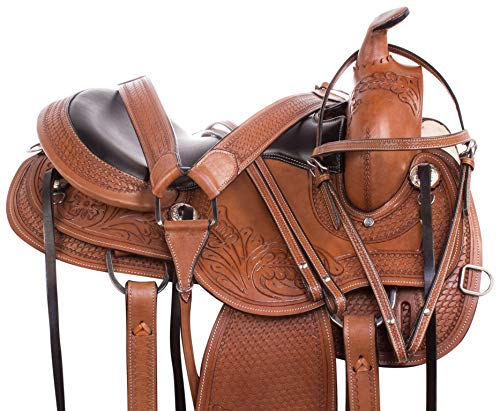 AceRugs Premium TN GAITED Walking Horse Saddles Western Trail Round Skirt Leather TACK Package Comfy SEAT (18)