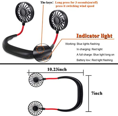 G DAY CO Sports Fan, USB Neckband Fan Mini Hand Free Personal, Rechargeable Portable Wearable Fan, 3 Level Air Flow. 360 Degree Free Rotation Perfect for Sports, Office and Outdoor