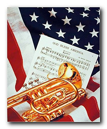 Wall Decor American Trumpet Instrument & Music Sheet Lying on American Flag Patriotic Art Print Poster (16x20)