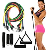 Saving Basket Resistance Bands Set - 5 Tube Set With Handles, Door Anchor, Ankle Straps And Carry Bag For Home Fitness (11 Pcs Set)