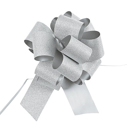 (Fun Express - Silver Glitter Pew Bows (dz) for Wedding - Party Supplies - Wrappings - Bows & Ribbons & Ties - Wedding - 12)