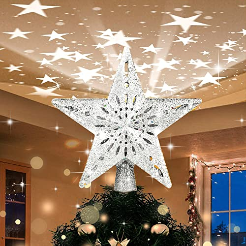 Yostyle Christmas Tree Topper Lighted with Silver Star Projector, LED Rotating Magic Star, 3D Hollow Glitter Lighted Silver Star Tree Topper for Christmas Tree Decorations