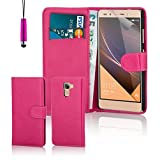 32nd® Book wallet PU leather case cover for Huawei Nexus 6P (2015), including touch stylus - Hot Pink