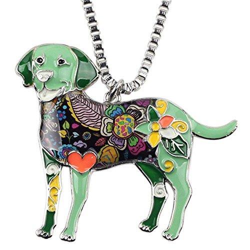 (Alloy Enamel Labrador Dog Choker Necklace Chain Pendant Collar Enamel Jewelry Women,Green)