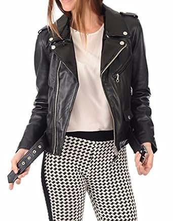 Leather Planet Women's Lambskin Leather Bomber Biker