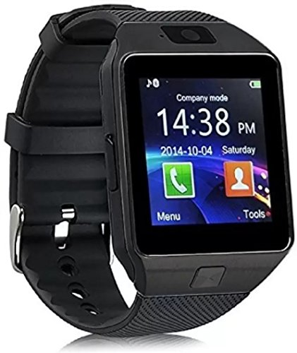 WATCH4ME Bluetooth Smart Watch Touch Screen Smartwatch Cell Phone with SIM Card Slot Camera Pedometer Sport Tracker for IOS iPhone Android Samsung Sony Smartphone for Men Woman Kids (DZ Black) by WATCH4ME