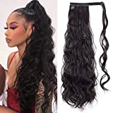 Stamped Glorious Clip in Ponytail Extension Synthetic Wrap Around Long Wavy Ponytail for Lady Women Girl Magic Paste Ponytail Hair Piece(24 Inch,4#)