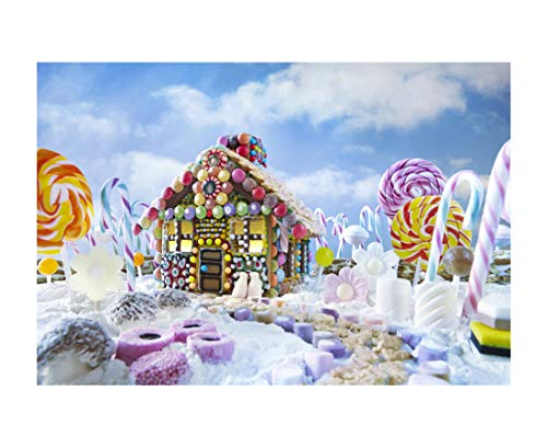 7x5FT Laeacco Vinyl Photography Background Christmas Gingerbread House Candy Canes and Sweets Surrounded Landscape Lollipops Colorful Backdrop Children Baby Girls Photo Portrait Shoot Video Prop
