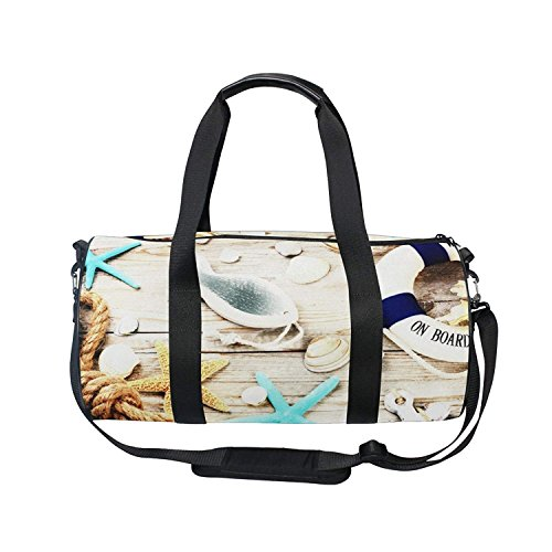 OuLian Duffel Bag Ocean Seastar On Wooden Table Women Garment Gym Tote Bag Best Sports Bag for (Brasilia Table)