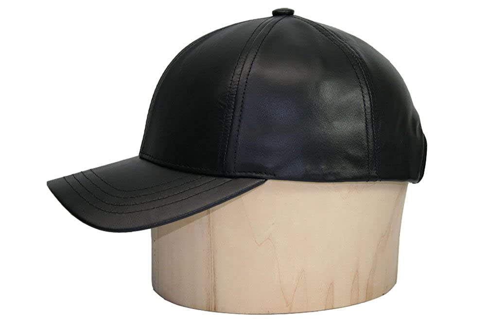 acbefe25 Black Leather Adjustable Baseball Cap Hat Made in USA at Amazon Men's  Clothing store: Leather Caps Hats Men
