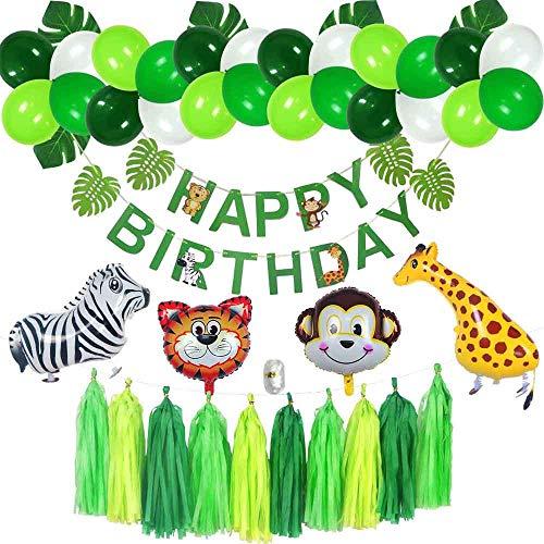 Jungle 1st Birthday Boy Decorations, Boy Birthday Decorations, Happy Birthday Banner, Walking Animals Balloons, Safari Theme Party Decor Kit, Playroom Decoration