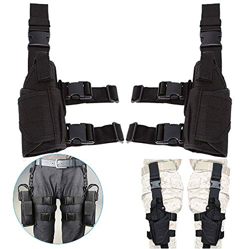 Pistol Adjustable - FRISTONE Dual Pistol Leg Holsters, Adjustable Universal Waterproof Drop Leg Pistol Holster Left Right Pouch Holder