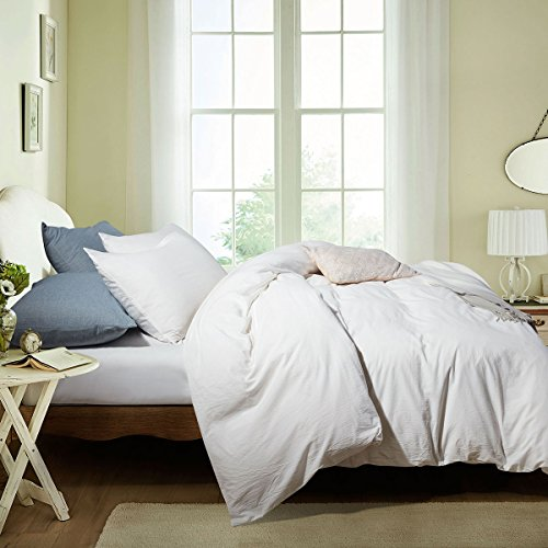 Seamour Duvet Cover, Bedding Duvet Cover Set 100% Cotton Comforter 3-Piece, Washed Cotton, Ultra Soft and Easy Care,Simple Style Bedding Set (Queen, Cream White 7006-4)