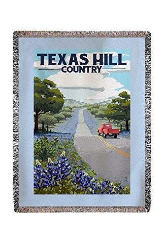 Texas Hill County - Texas - Bluebonnets and Highway (60x80 Woven Chenille Yarn Blanket)