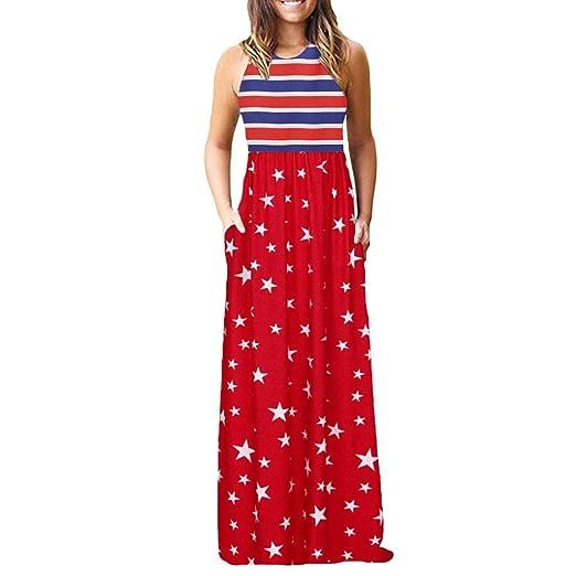 6be166d1 Women's Sleeveless Dress O-Neck American Flag Summer Casual Loose ...