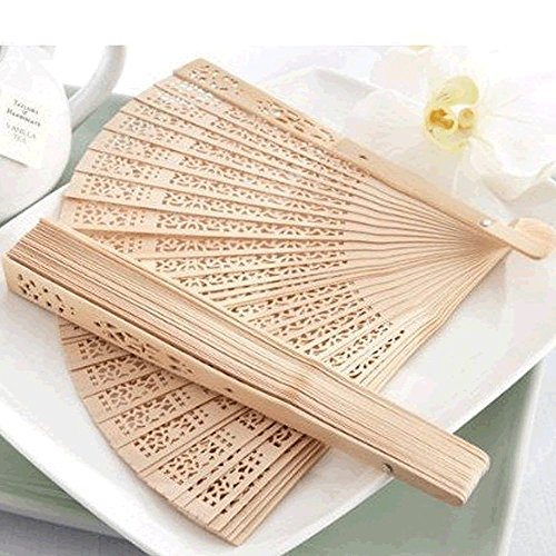 Generic Summer Vintage Folding Bamboo Wooden Carved Hand Fan Wedding Bridal Party Pack of (Wooden Hand Fans)