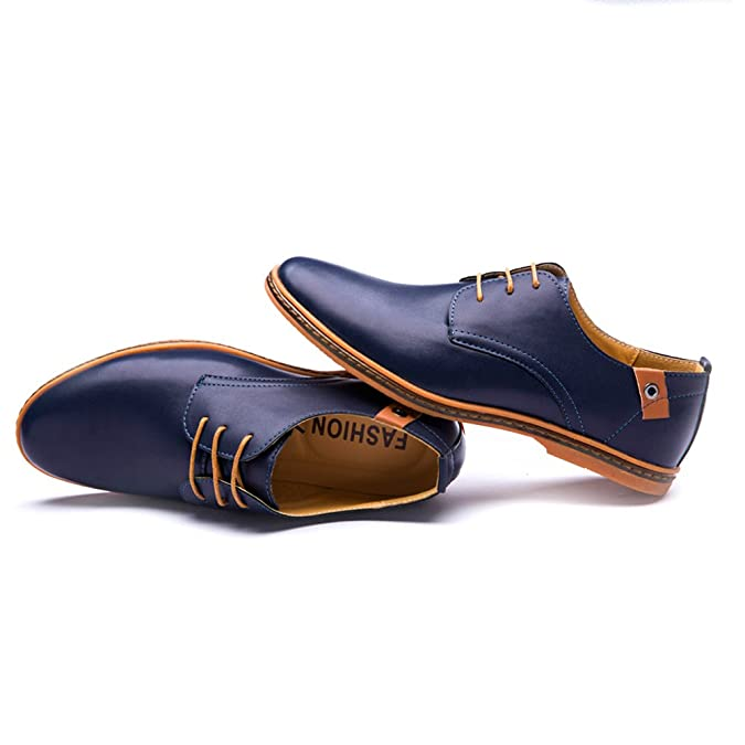 Amazon.com | Seakee Mens Leisure Lace-up Flat Oxford Dress Shoes Blue US 12.5 | Shoes