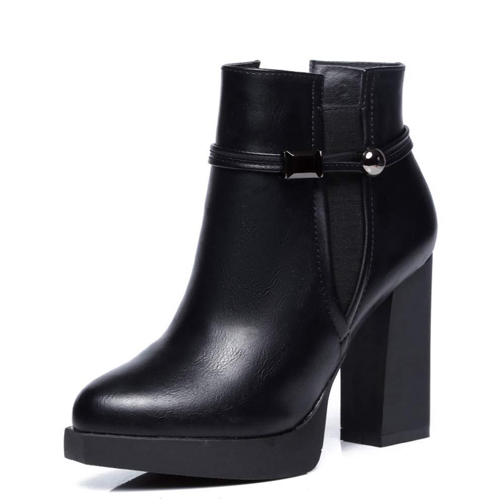 XBXB Plateau Stiefeletten High Heels Trendige Damen Kortex Stiefeletten Stiefel Chelsea Stiefel