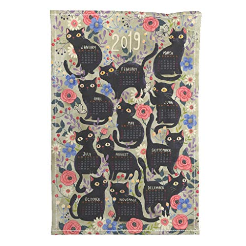 Roostery 2019 Tea Towel Calendar Cats Black Cat Gaia Marfurt by Gaiamarfurt Special Edition Linen Cotton Tea Towel