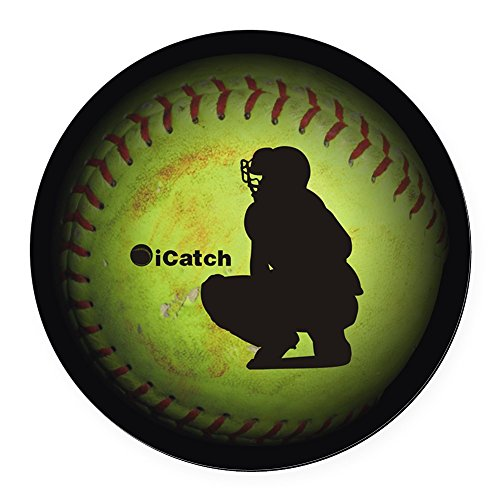 CafePress - iCatch Fastpitch Softball Round Car Magnet - Round Car Magnet, Magnetic Bumper Sticker