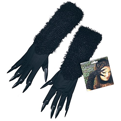 Black Cat Gloves With Claws -