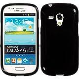 Silicone Case for Samsung Galaxy S3 Mini - Candy black - Cover PhoneNatic + protective foils