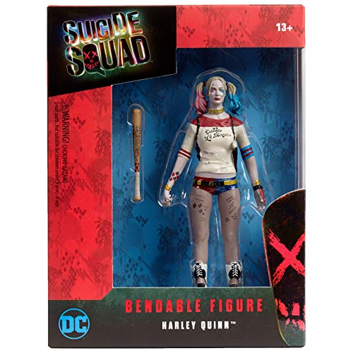 NJ Croce Suicide Squad Harley Quinn Bendable Action Figure, Multicolor, 8