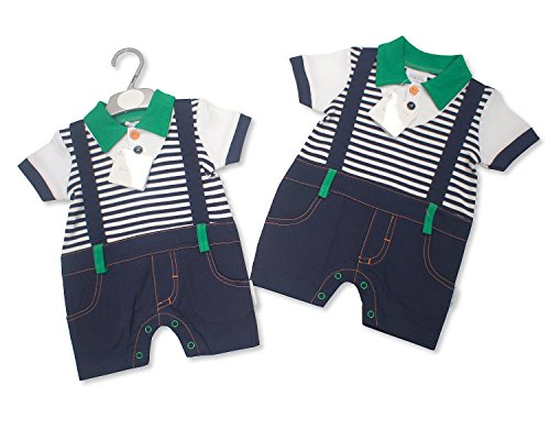 Nursery Time Baby Clothes for Boys 100% Cotton One Piece Set with Striped Pattern (0-3 Months)
