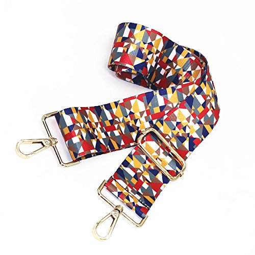 M-W 2 Wide 29-51.5 Adjustable Length Handbag Strap Purse Strap Canvas Replacement Strap Crossbody Strap, With 2Pcs Golden Metal Buckles (Style9)
