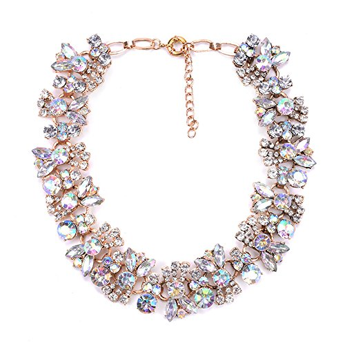Lovage Azhido Bling Rhinestone Crystal Choker Collar Necklace Short Bib Statement Chunky Jewelry (Crystal Rhinestone Bib Necklace)