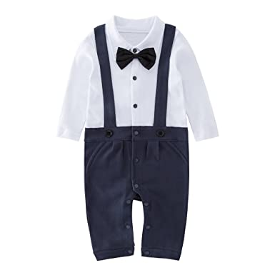 9a03060070fa Amazon.com  May s Baby Boys Long Sleeves Bowtie Faux Suspenders ...