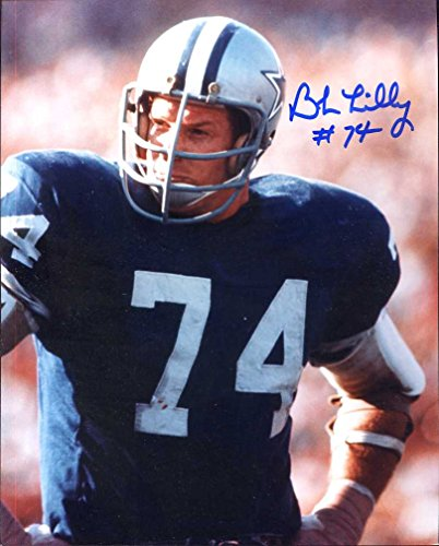 (Bob Lilly (Football HOF) Autographed/ Original Signed 8x10 Color Photo w/ the Dallas Cowboys - w/ Added Inscription of Number