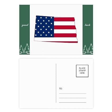 Amazon.com : North Dakota USA Map Stars Stripes Flag Shape Good Luck ...