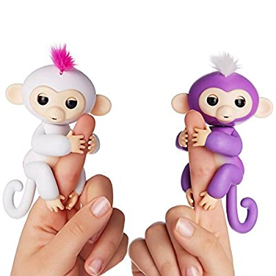 Fingerlings - Interactive Baby Monkeys 2 Pack- Sophie (White with Pink Hair) & Mia (Purple with White Hair) - by WowWee from WowWee