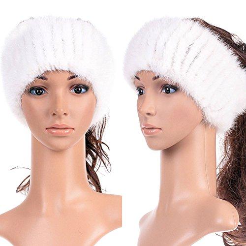 Genuine Winter and Autumn Mink Fur Headband Women Winter(white)