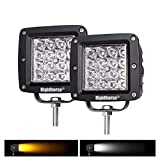 LED Light Pods, Rigidhorse 2 pcs 4 Row 4 inch 38W Dual-Color White&Yellow Combo LED Light Pods Driving Lights LED Work Light for Jeep/SUV/Trucks with Slidable Mounting Bracket, 1 Year Warranty