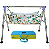 Multipro Baby Cradle N Swing Ghodiyu With Flat Sleeping Bed Premium Indian Style Cloth Hammock Having Mosquito Net For New Born Infants (Blue)