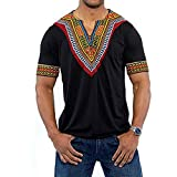 Gtealife Men's African Print Dashiki T-Shirt Tops Blouse (1-Black, XL)