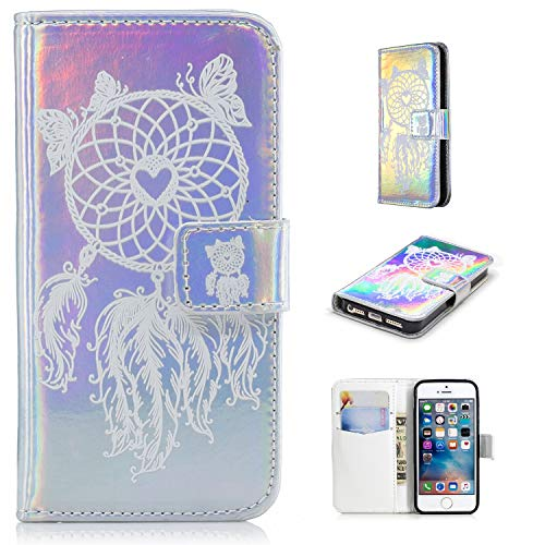 Ostop Leather Wallet Case for iPhone 5S,iPhone 5 Case,iPhone SE Case,Credit Card Slots Holster with White Dreamcatcher Pattern Stand Holder PU Dual Layer Protective Shell Magnetic Colorful Flip Cover