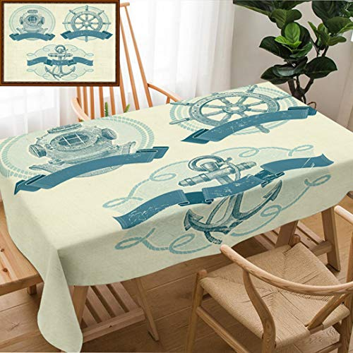 Unique Custom Design Cotton and Linen Blend Tablecloth Nautical Emblems with Hand Drawn Elements Old Diving Helmet Ship Steering Wheel and AnchorTablecovers for Rectangle Tables, Small Size 48