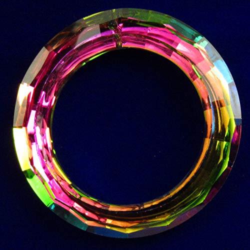 FidgetKute 1Pcs 50x8mm Faceted Rainbow Titanium Crystal Donut Pendant Bead AG337 ()