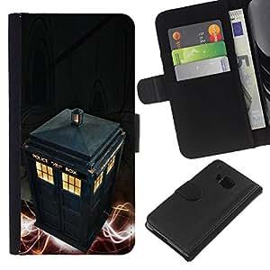 Protector de cuero de la PU de la cubierta del estilo de la carpeta del tirón BY RAYDREAMMM - HTC One M9 - Policía Call Box