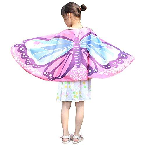 FarJing Child Kids Boys Girls Shawl Bohemian Butterfly Print Pashmina Costume Accessory Shawl (Pink)