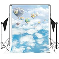 5x7ft White Clouds and Blue Sky Hot Air Balloon Photo Backgrounds no Wrinkle Photography Backdrops for Newborn wd2616