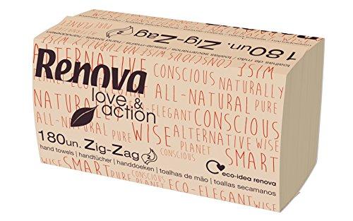 Renova Zig-Zag Love&Action Handdoeken, 15 verpakkingen van 180 stuks, 2700 stuks, milieuvriendelijk kraftpapier, 2-laags…